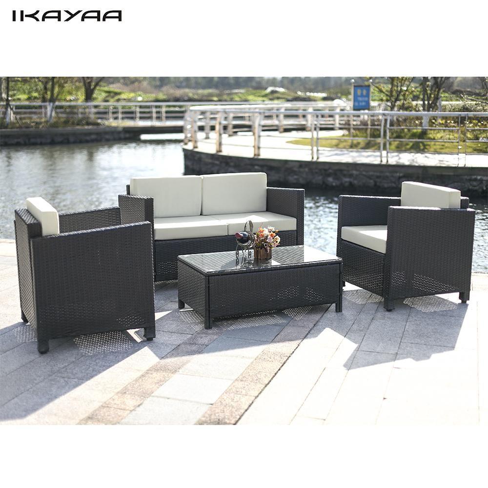 IKayaa 4 STÜCKE Gepolsterten Rattan Gartenmöbel Set Garden Sofa ...