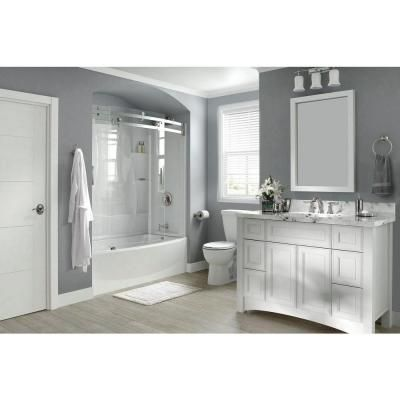 Delta Clic 400 Curve 29 875 In X 59 88 61 51 3 Piece Direct To Stud Tub Surround High Gloss White 40204 The Home Depot