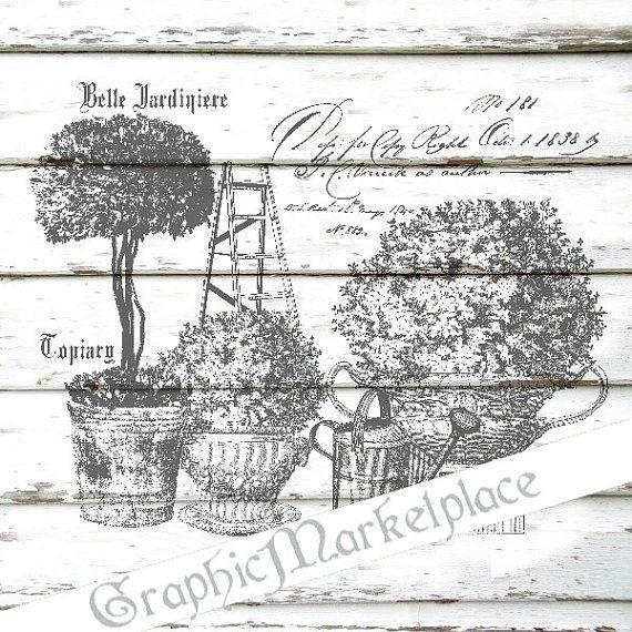 Belle Jardiniere Garden Topiary Instant Download Transfer Burlap digital graphic printable No. 1191