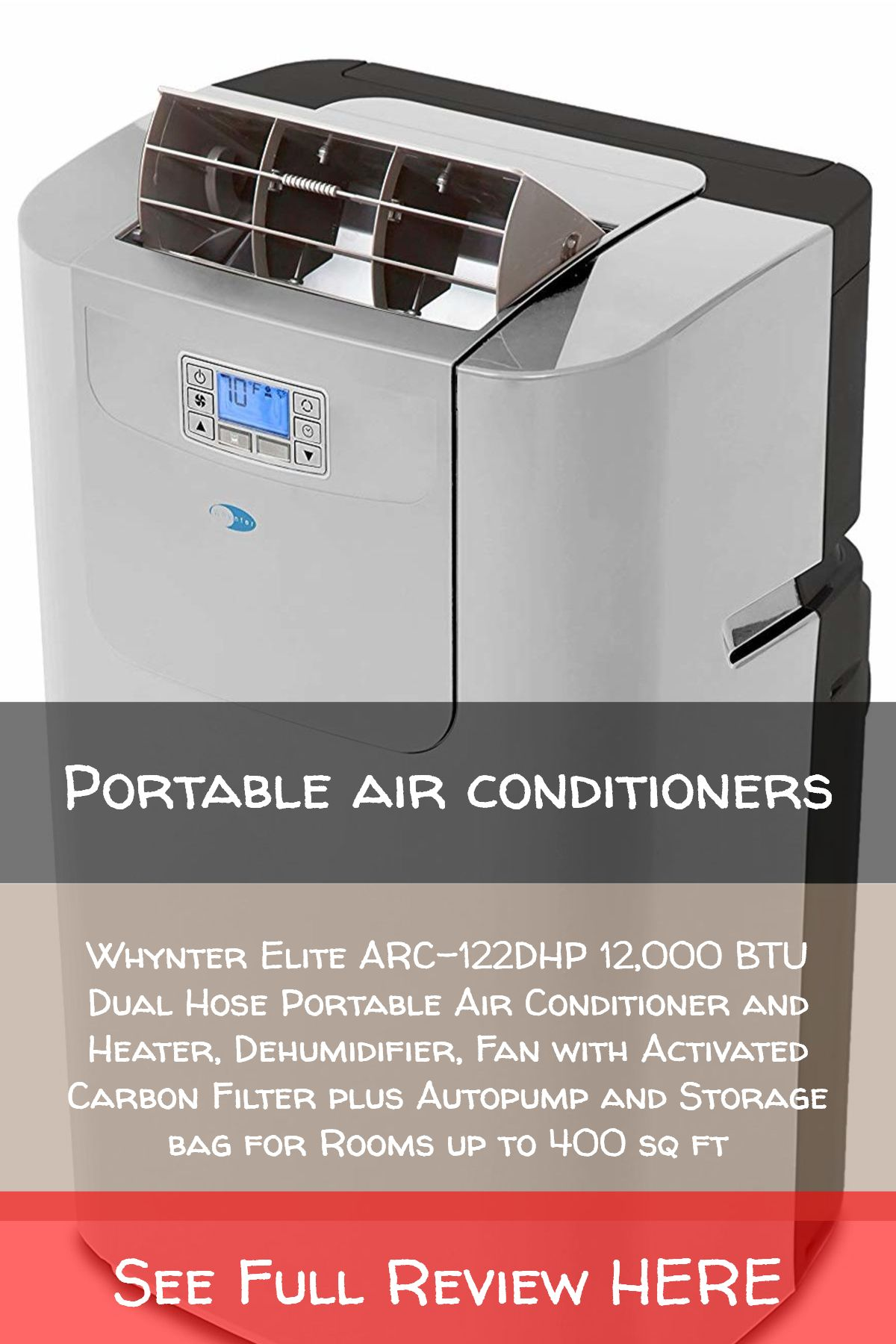 Dehumidifier Fan with Activated Carbon Filter plus Autopump and Storage bag for Rooms up to 400 sq ft Whynter Elite ARC-122DHP 12,000 BTU Dual Hose Portable Air Conditioner and Heater