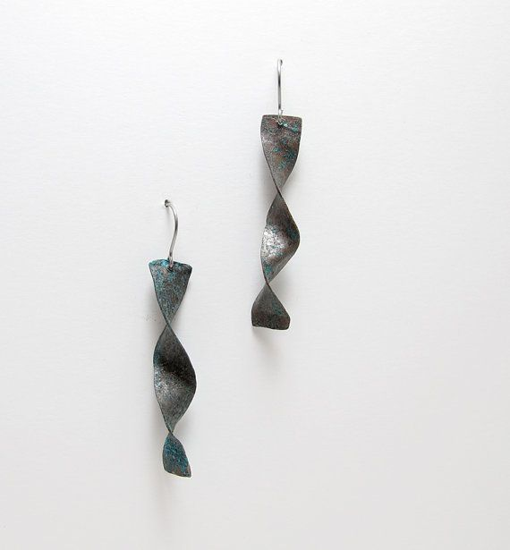 Brown Blue Copper Earrings  Dark Copper Dangle by leanderdambrosia