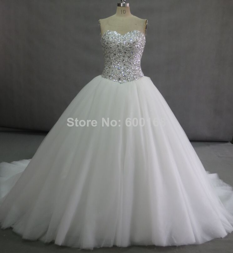 BG 1034 Alibaba Real Made Actual Images Ball Gown European Styles Crystal Beaded Puffy Wedding