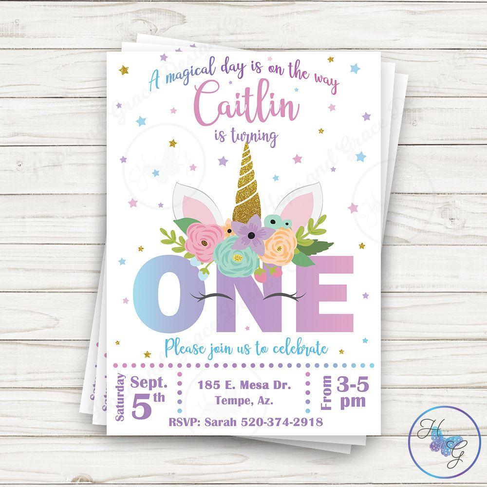 unicorn invitation first birthday