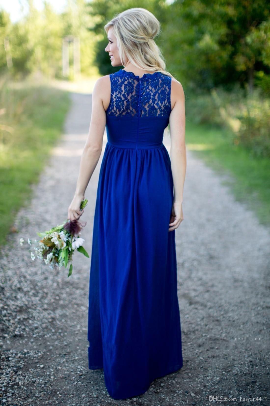 Country Bridesmaid Dresses 2016 Long For Wedding Royal Blue Chiffon Lace  Illusion Neck Sheer With Beads Plus Size Party Maid Honor Under 100 1bdfbed61a37