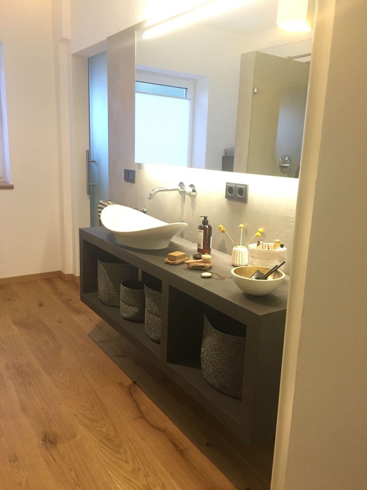 diy waschtisch aus beton cir selbst bauen waschtisch und w nde. Black Bedroom Furniture Sets. Home Design Ideas