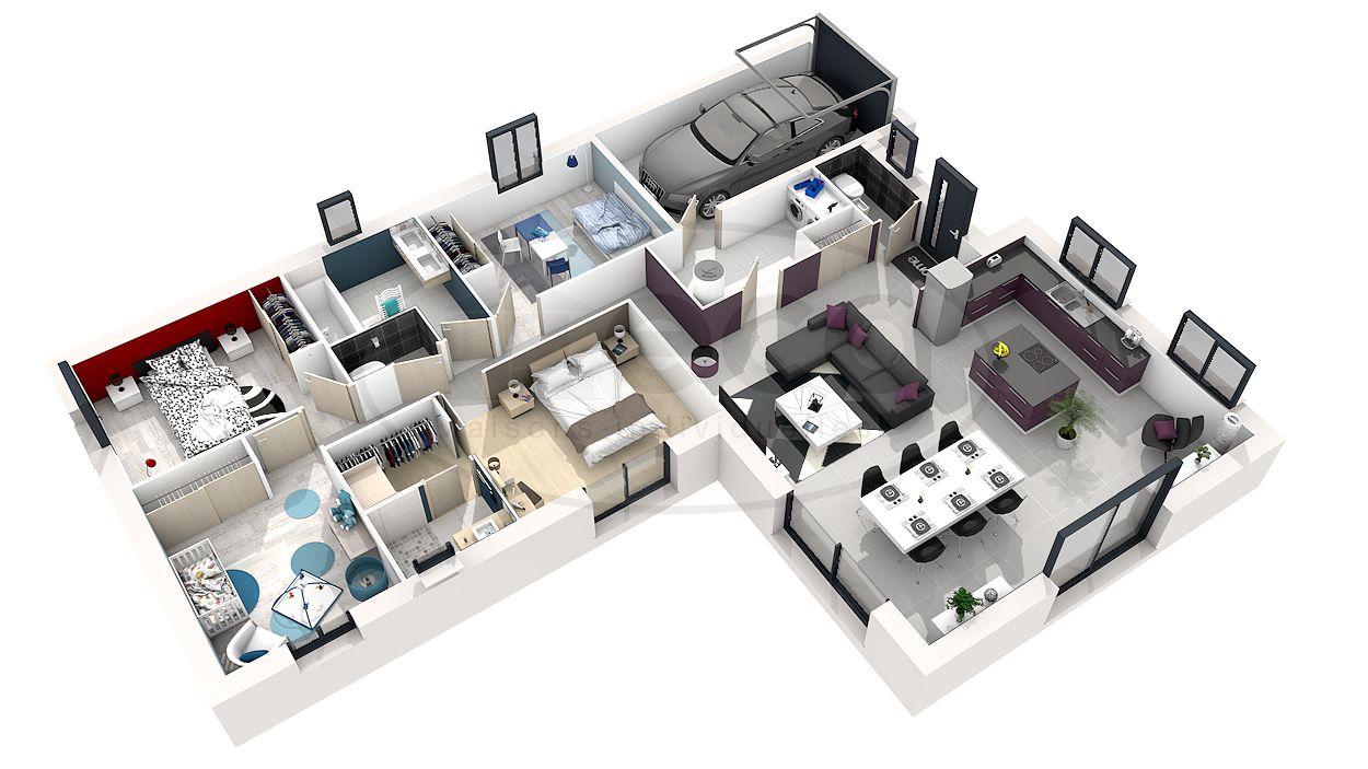 plan de maison plain pied 3d