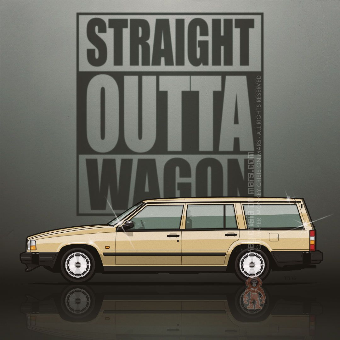 Yellow Volvo 245 Wagon With Bike Square Graphic: #Volvo 745 #wagon In Gold By Tom Mayer