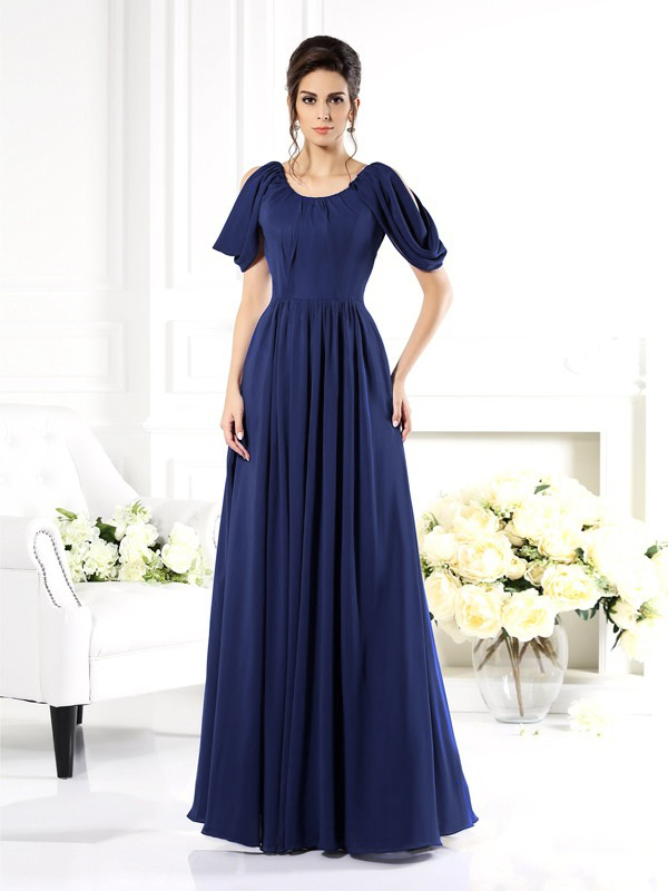 Brautmutterkleider Abendkleid Lang Dunkelblau Chiffon Mit