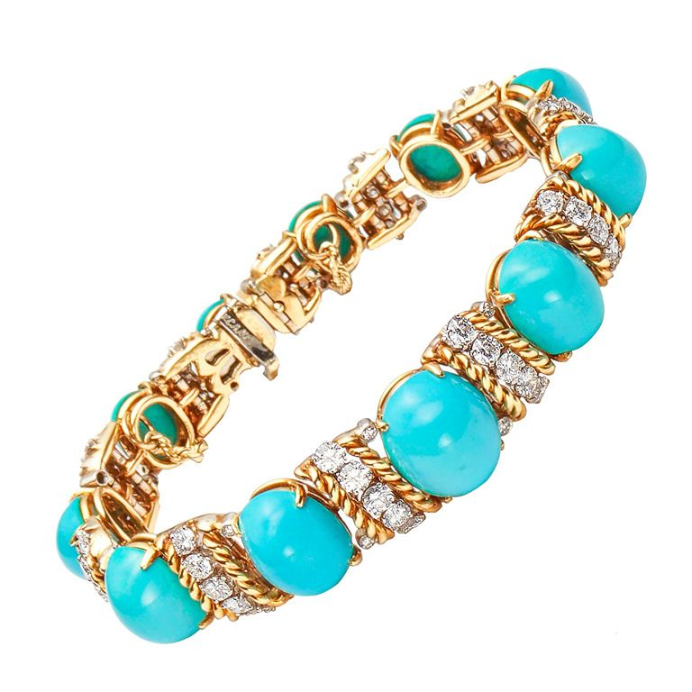 VAN CLEEF & ARPELS Turquoise, Diamond and Gold Bracelet   From a unique collection of vintage more bracelets at http://www.1stdibs.com/bracelets/more-bracelets/