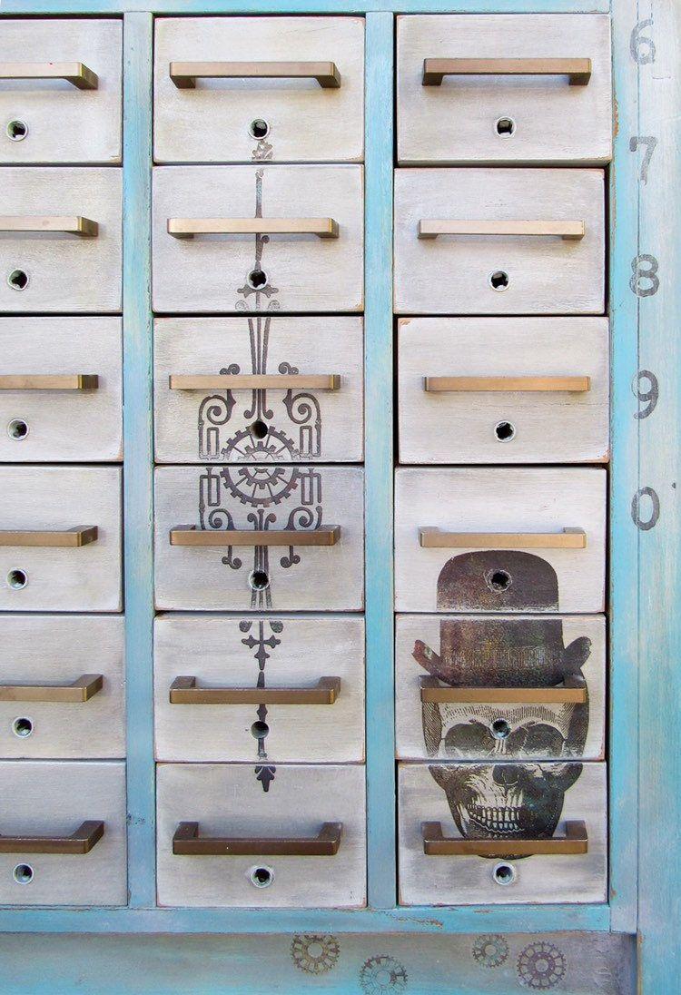 Antique Vintage Steampunk Card Catalog Cabinet Storage Cabinet