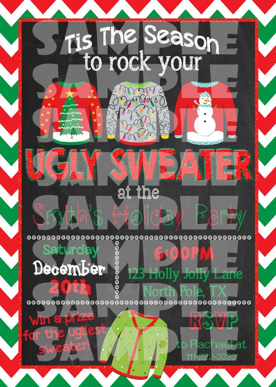 UGLY SWEATER INVITATION - Ugly Christmas Sweater Party Invite