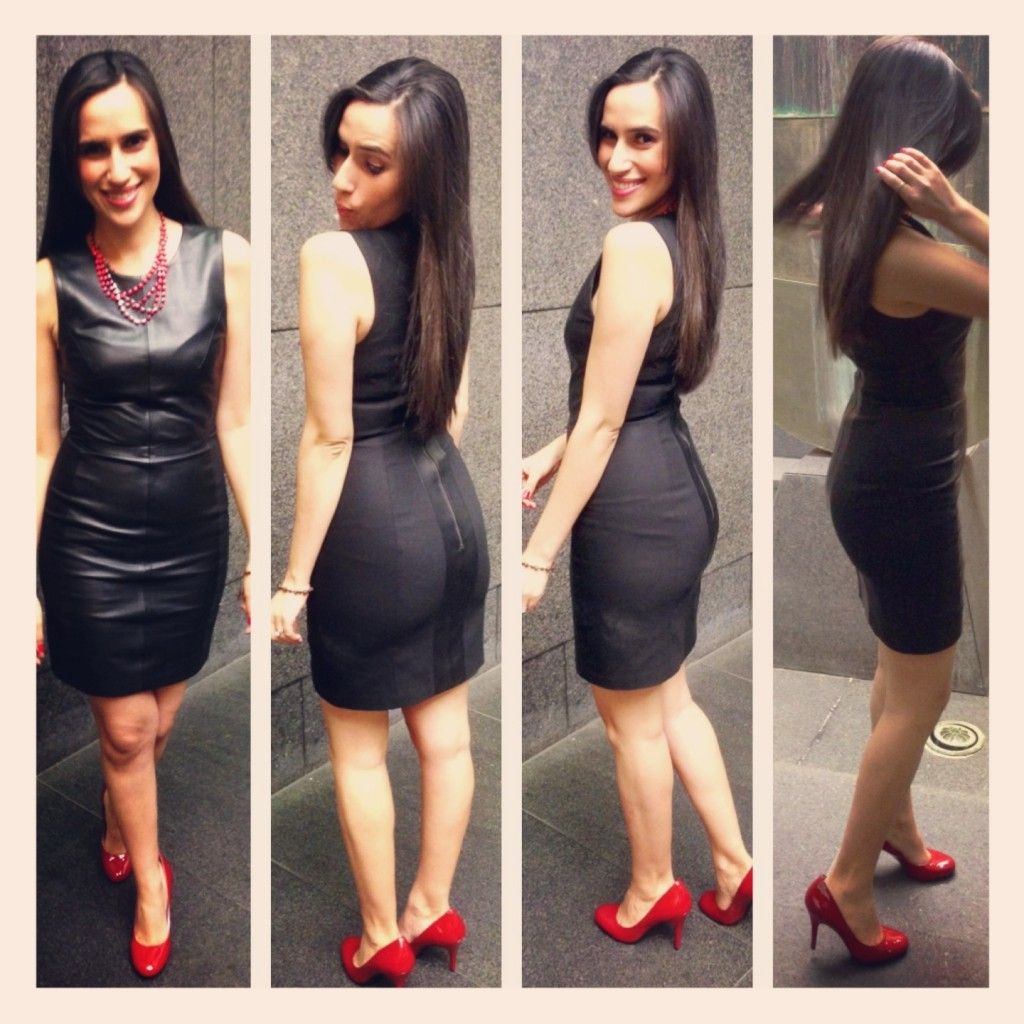 Black leather dress and red shoes be chic fashion pinterest