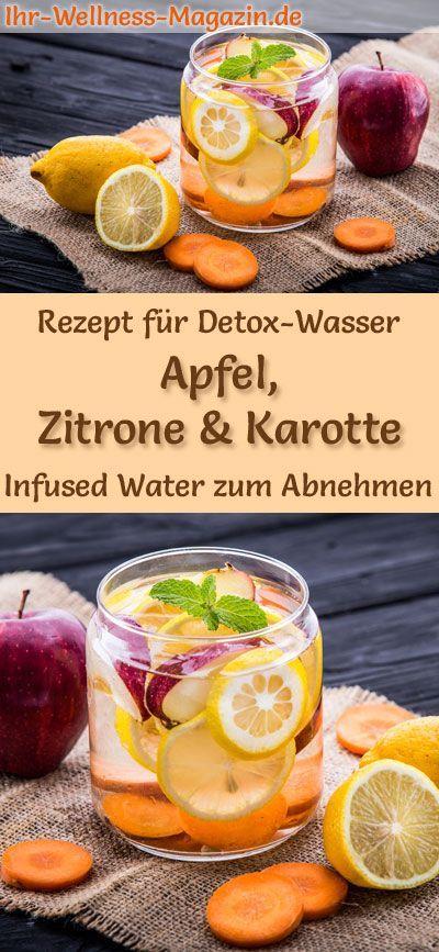 Apfel-Zitronen-Karotten-Wasser - Rezept für Infused Water - Detox-Wasser