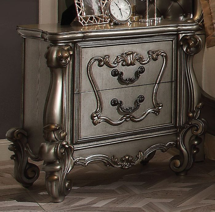 Best Tanner 2 Drawer Nightstand Antique Platinum Metallic 400 x 300