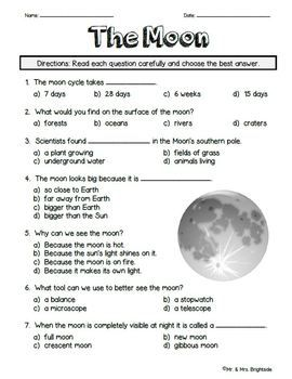 Moon Quiz This Is A 16 Question Quiz Test Assignment Regarding The Moon It Contains 12 Multiple Choice Questions And 4 Fill I