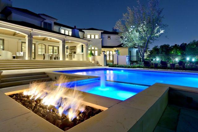 offene feuerstelle-gestalten poolbereich-akzentbeleuchtung Outdoor