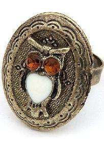 Cute bronze owl locket ring free shipping $8.65