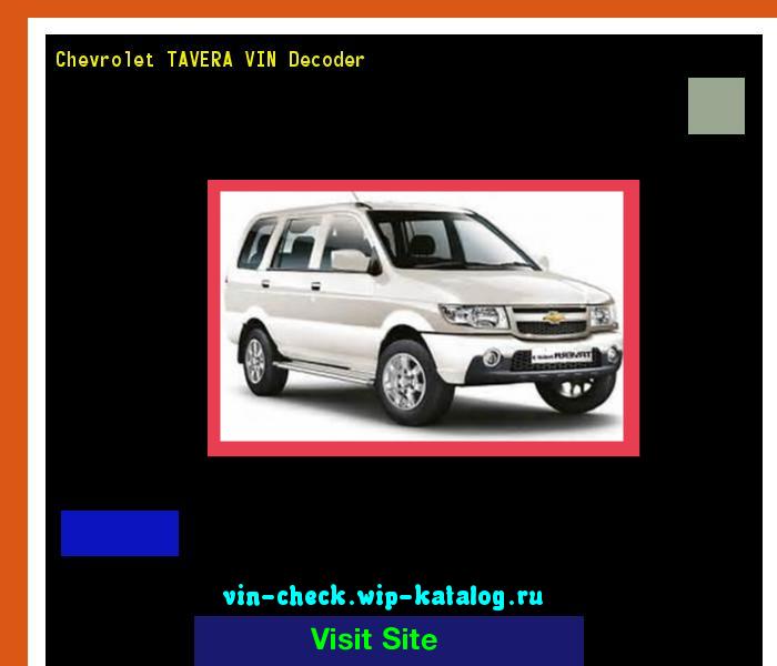 Chevrolet Tavera Vin Decoder Lookup Chevrolet Tavera Vin Number