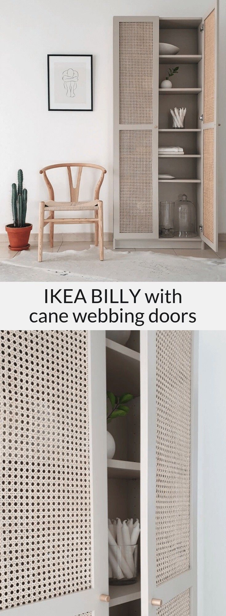 Photo of IKEA BILLY cane furniture hack featuring custom cane webbing doors.-   IKEA BILL…