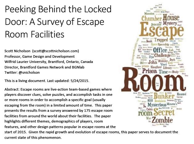 Peeking Behind The Locked Door A Survey Of Escape Room Facilities By Scott Nicholson Escape Room Brantford Escape