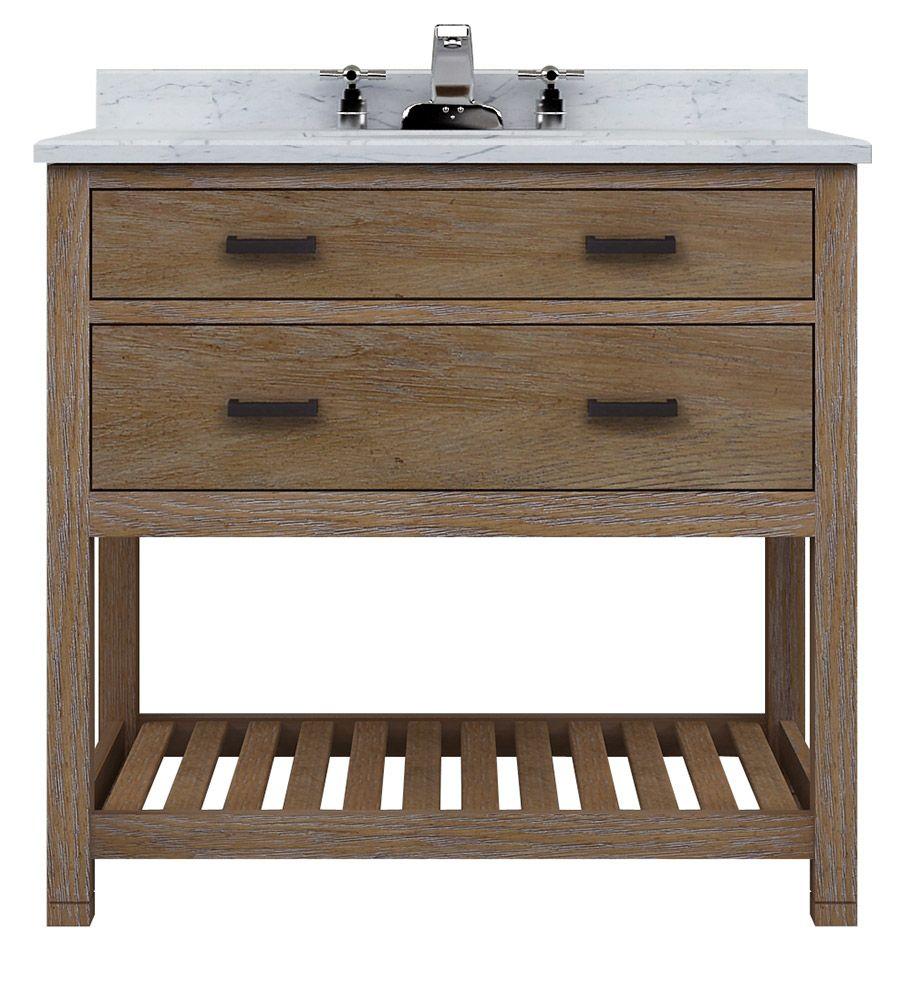 Astoria 36 Vanity 1 Drawer Open Shelf Bathroom Vanity Cabinets