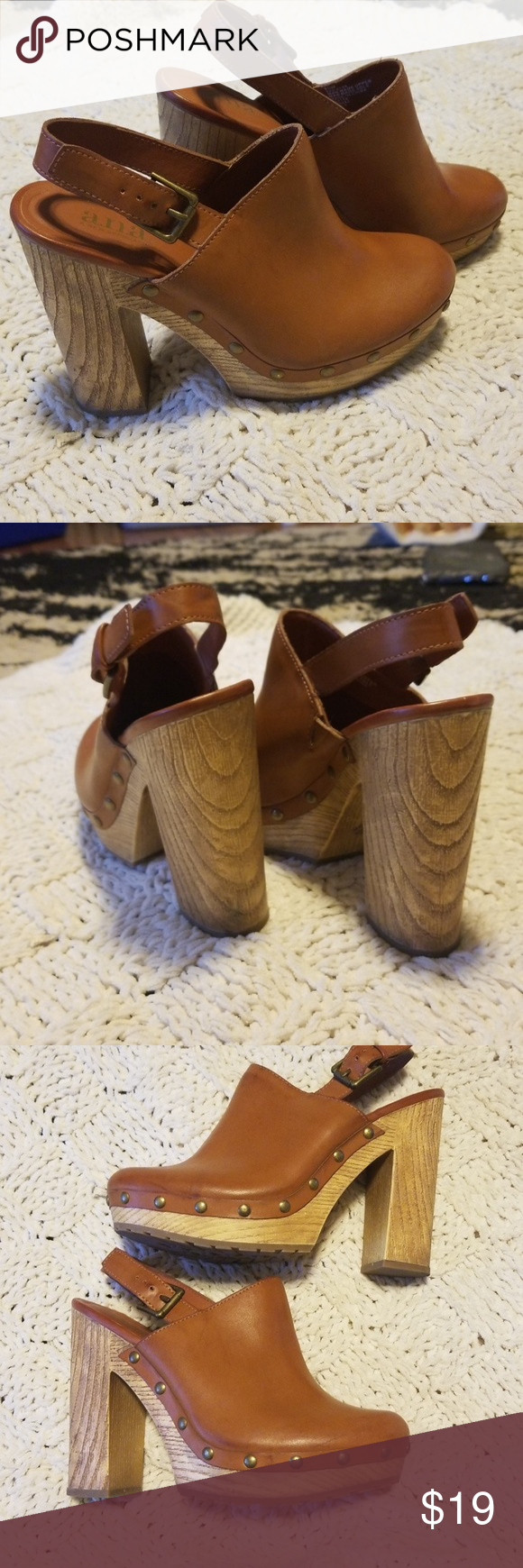 64e5bfde1b3 Mule style heels a.n.a. brand mules worn once! Like new condition. About a  5 inch heel. LOVE! 😍 just makes me TOO TALL 😂 a new approach Shoes Heels