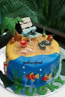 Birthday Cakes Beach Themed Birthday Cakes Beautiful Birthday