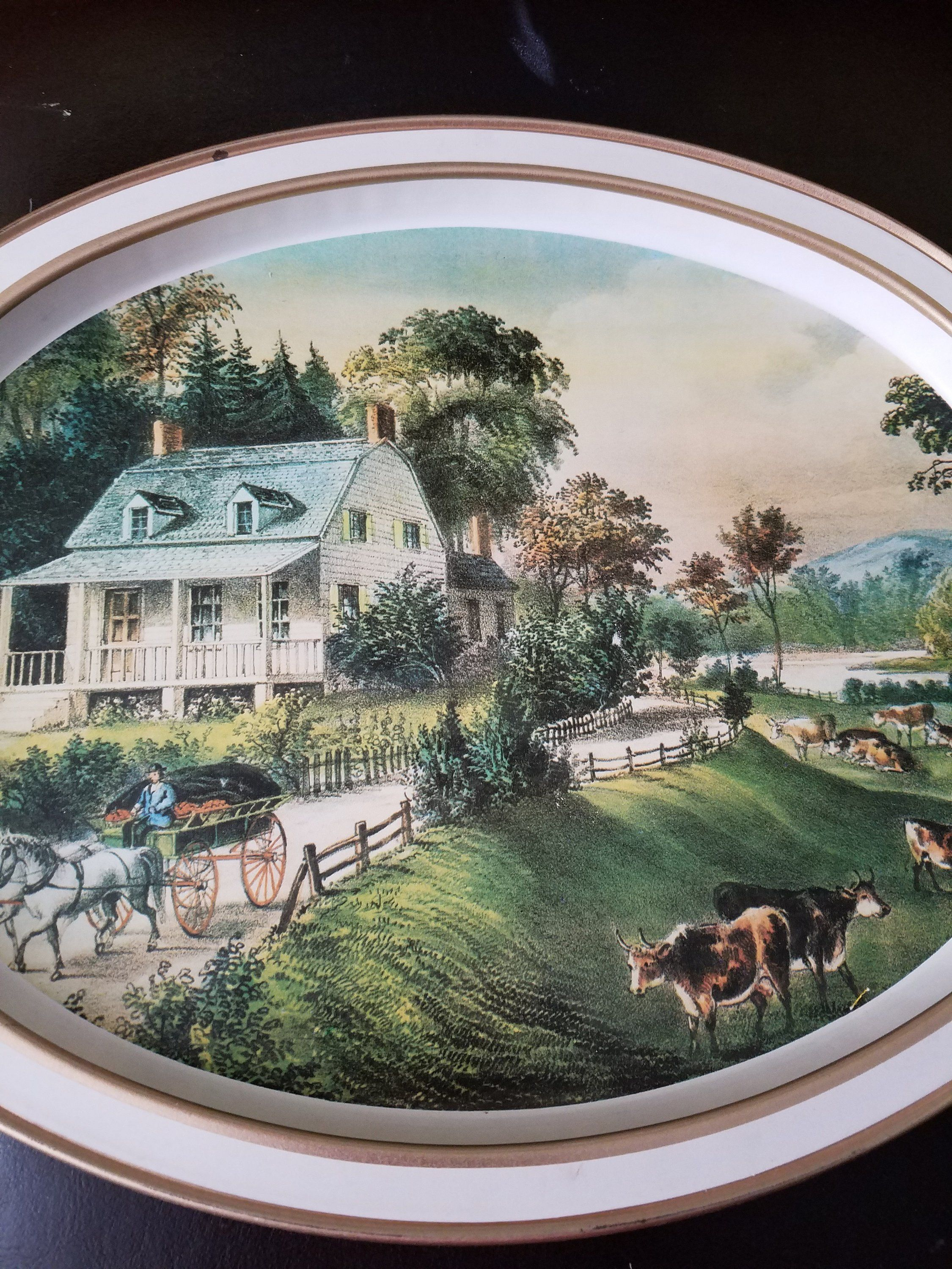 Americana Summer The American Homestead Metal Tray by Currier and Ives