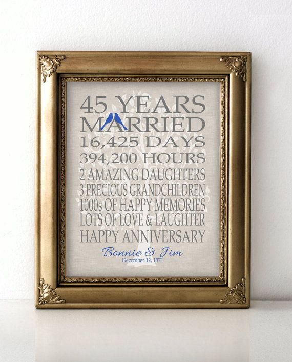 45 Wedding Anniversary Gift Ideas: 45th Wedding Anniversary Gift For Parents By