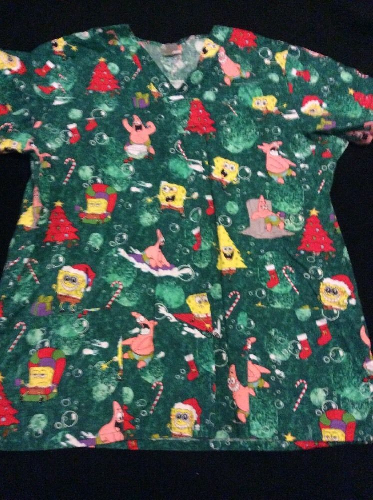 nickelodeon spongebob christmas scrub top size large l green with red trees - Christmas Scrub Top