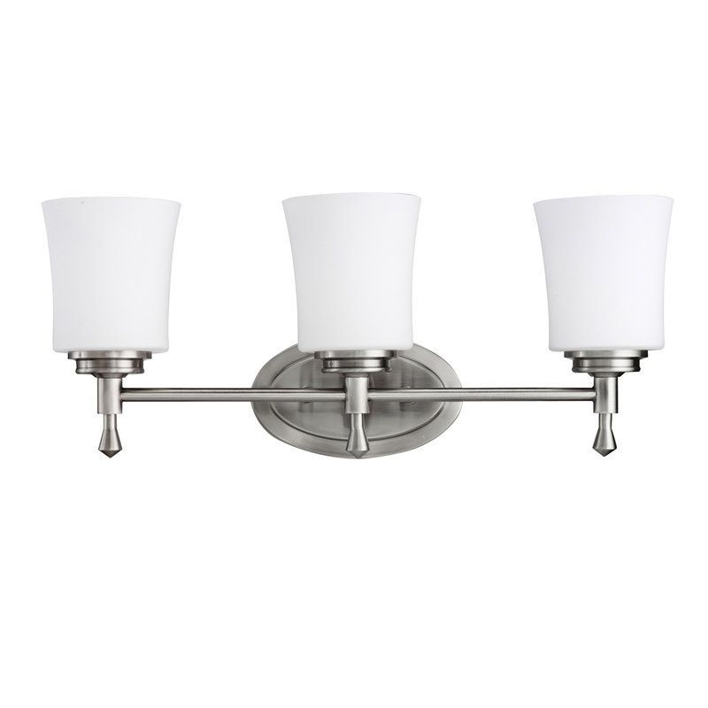 Photo of Kichler 5361NI Brushed Nickel Wharton 22″ Wide 3-Bulb Bathroom Lighting Fixture – LightingDirect.com