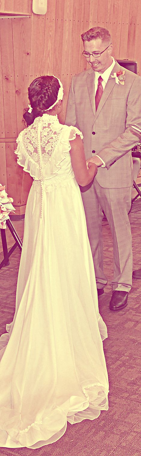 vintage 1970s wedding dress Victorian lace details capelet style ...