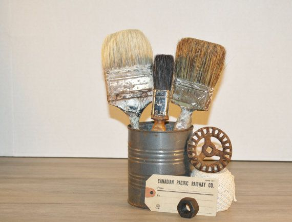 vintage house painter brushes | Items similar to 3 Vintage USED PAINT BRUSHES. Old Wooden Cool Display ...