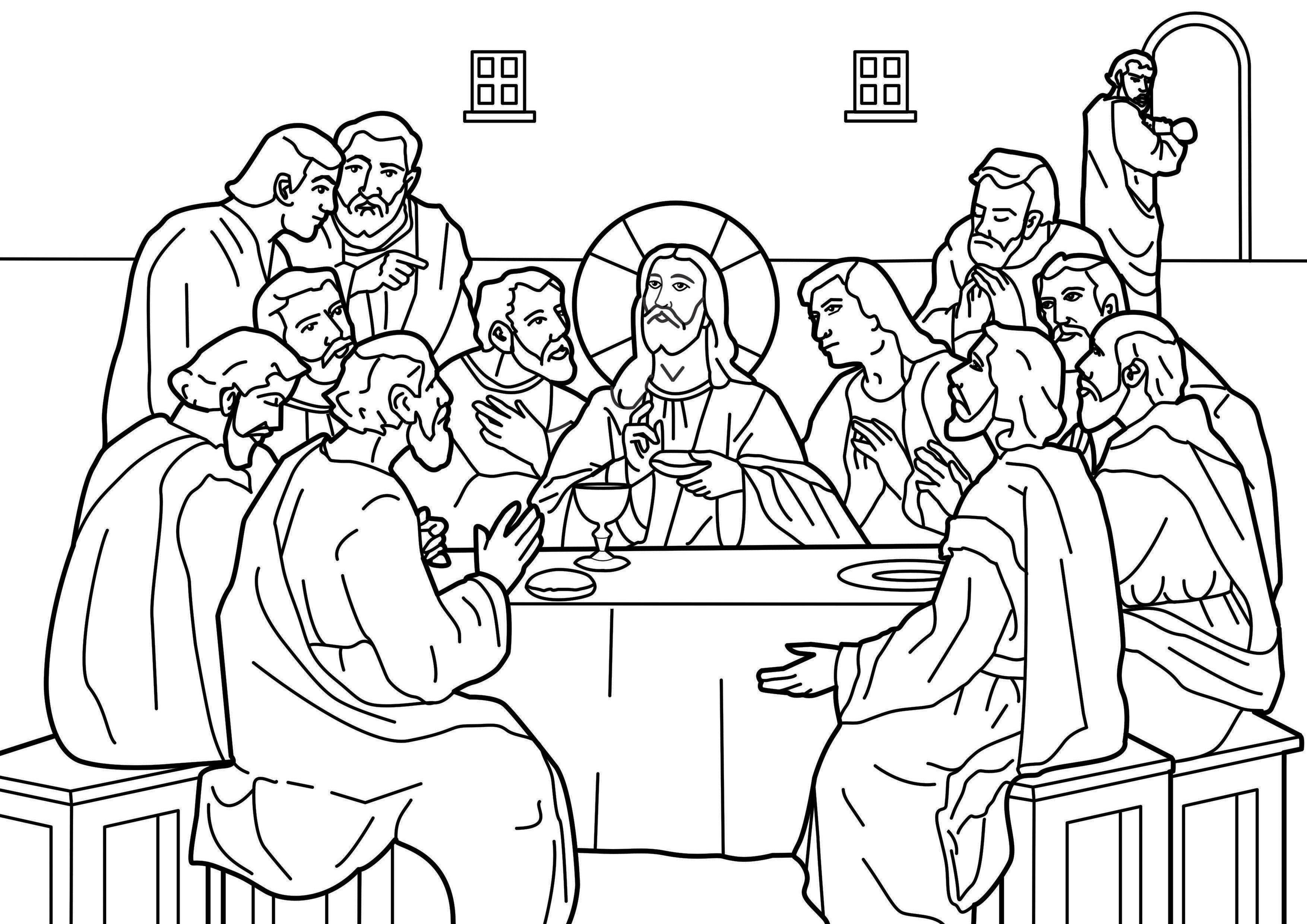 The Last Supper Maundy Thursday And The Instituting Of Communion With Judas Leaving The Room Bible Colori Jesus Coloring Pages Catholic Coloring Last Supper
