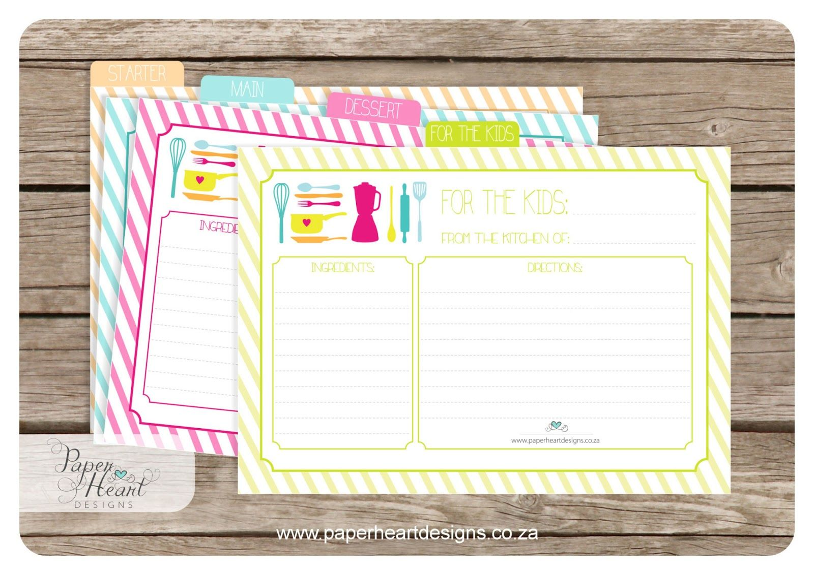 Paper Heart Designs - Free Printable Recipe Cards - http://www ...