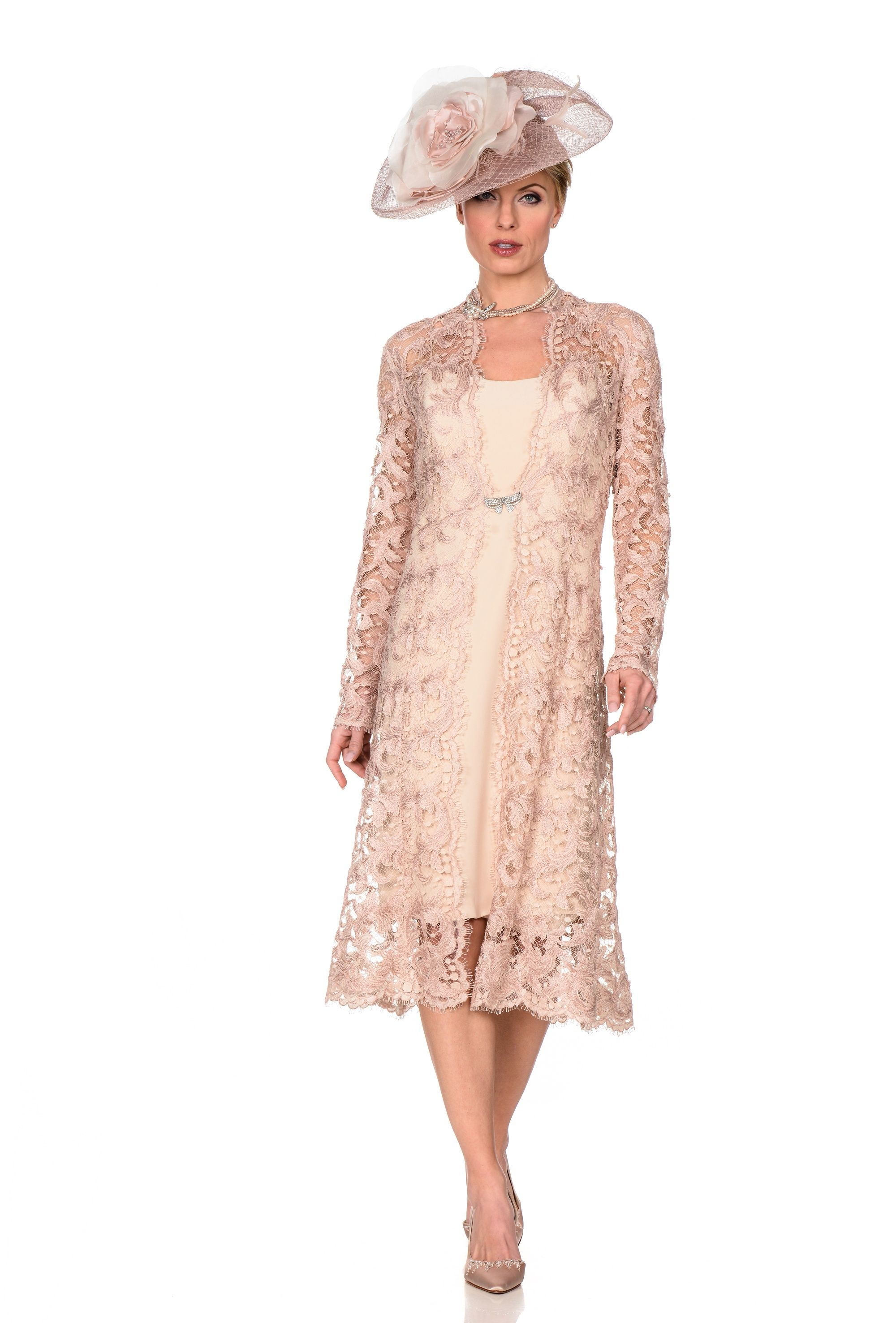 Gold Zeila Mother of the Bride Dress with Long Jacket | Manto ...