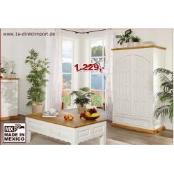 Photo of weißer Kleiderschrank, Dielenschrank, Landhausschrank, Mexico, weiss lackiert, Shabby Chic 1a direkt