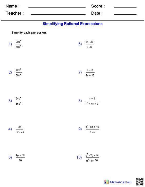 Algebra 1 Worksheets Rational Expressions Worksheets Simplifying Rational Expressions Rational Expressions Algebraic Expressions