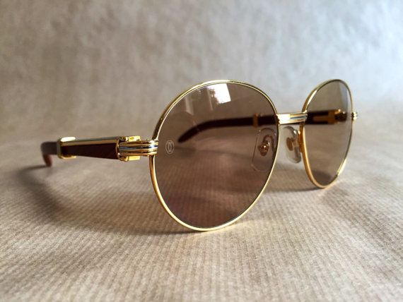 ee056ed1eed 1990 Cartier Bagatelle Palisander Rosewood Vintage Sunglasses 18kt Gold  Plated including Box