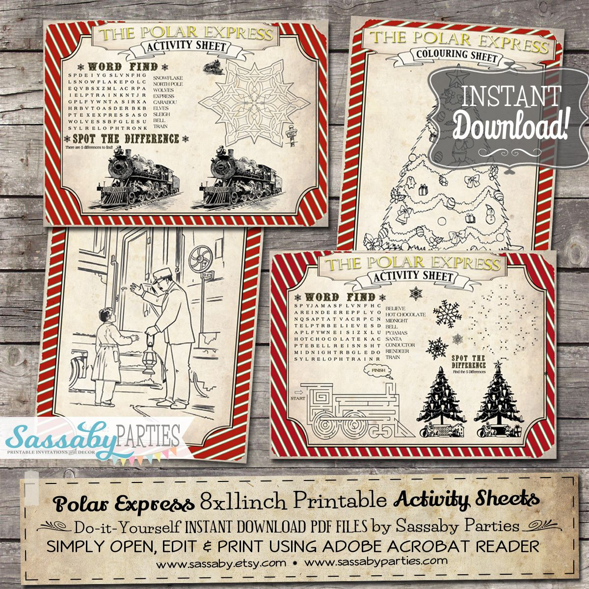 Polar Express Activity Sheets Red | Christmas australia, Party ...