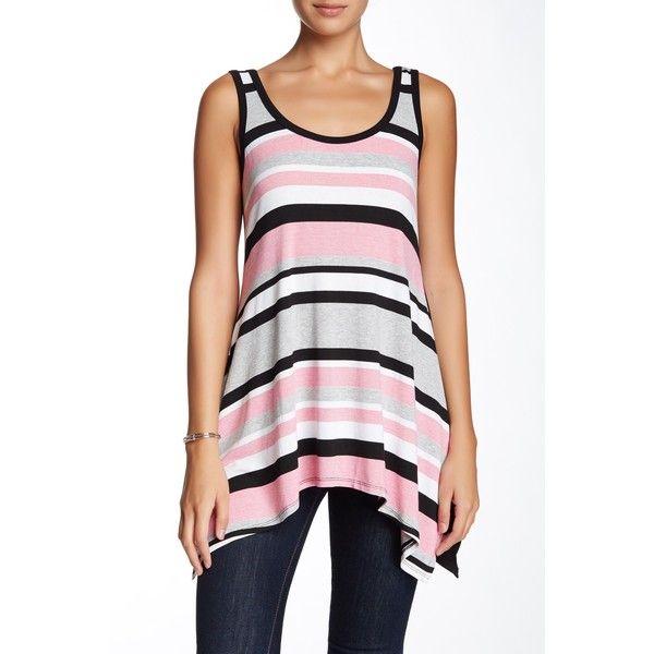 Karen Kane Stripe Handkerchief Tank (44 NZD) ❤ liked on Polyvore featuring tops, tul, stripe tank top, karen kane tops, sleeveless tank, sleeveless tops y scoop neck tank
