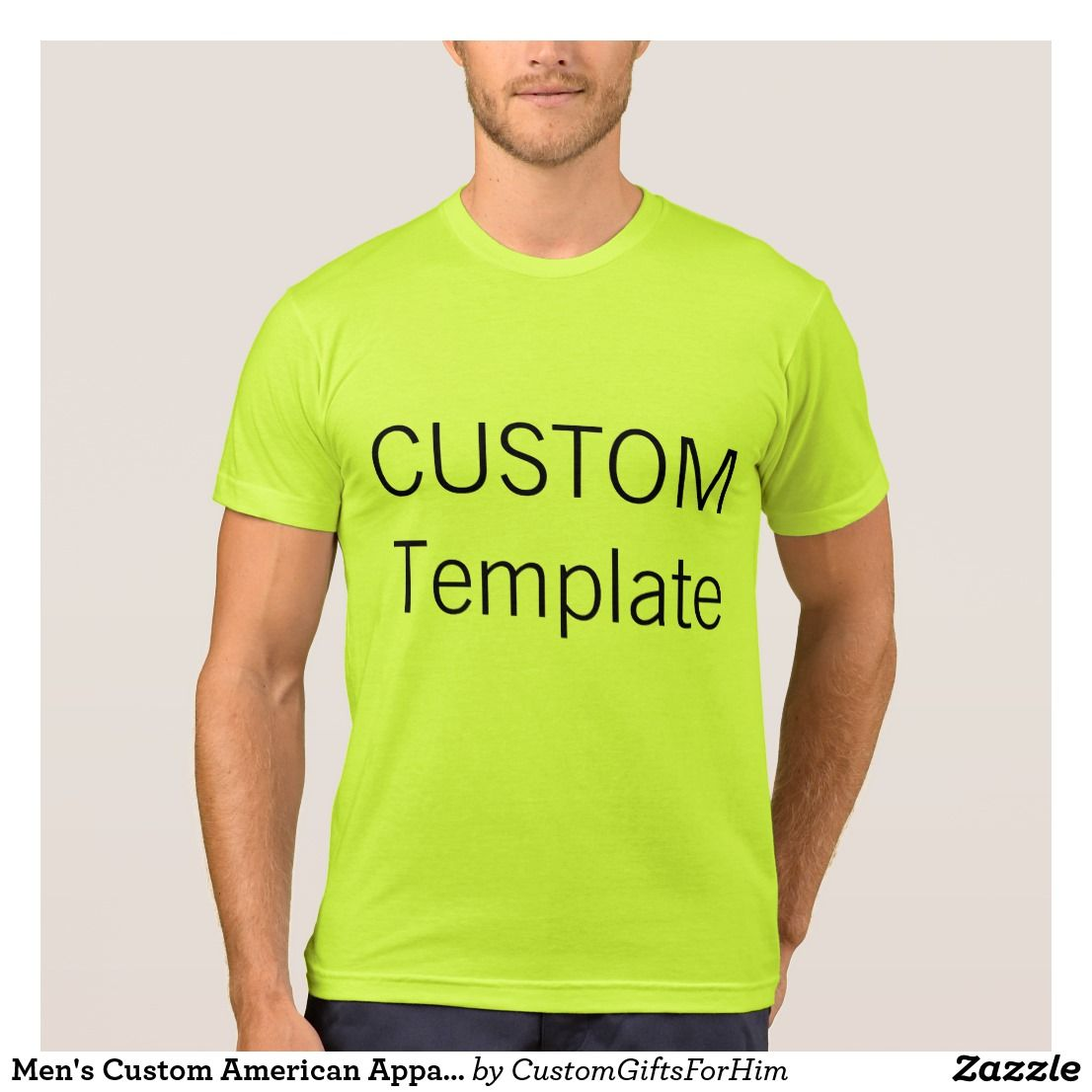 Men's Custom American Apparel T-Shirt NEON YELLOW