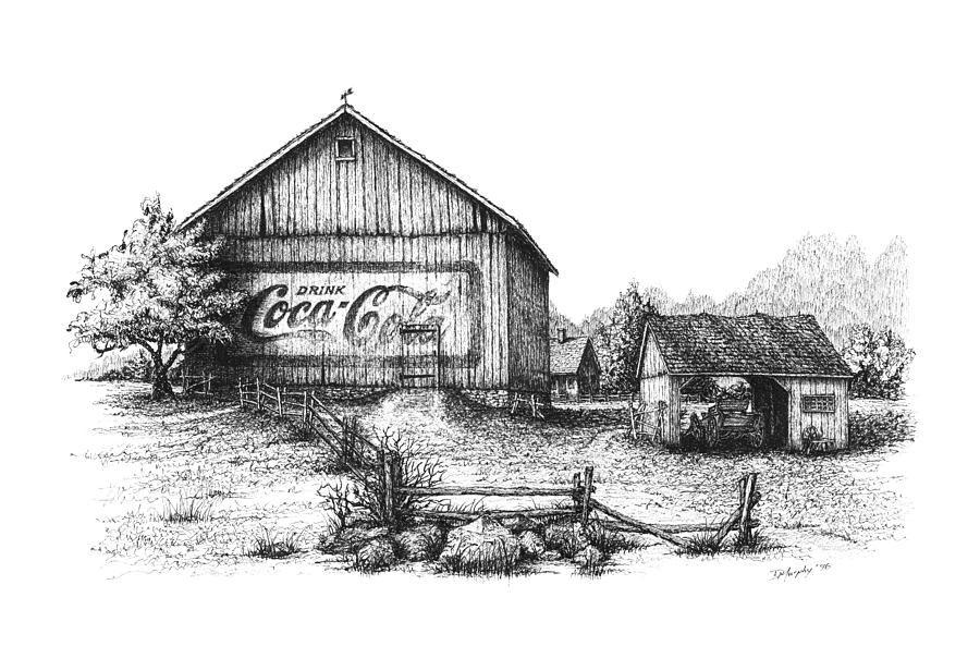 Old Barn Drawings | My Coke Barn Drawing | old barns | Pinterest
