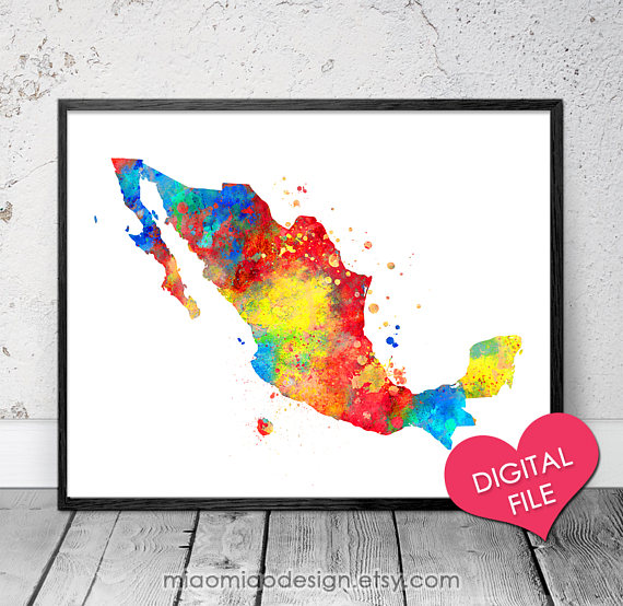 mexico map watercolor printable art digital download mexico printable map mexico print mexico decor mexico map poster mexico art - Printable Map Of Mexico