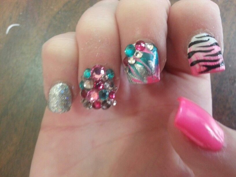 Retro Baltimorenails Acrylicnails Nails Nailart Zebra Pink