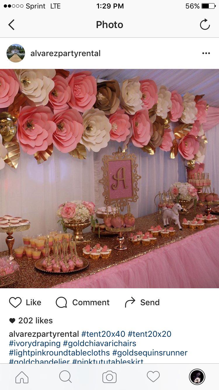 I love the big flowers nd the gold and pink colors | party decor ...