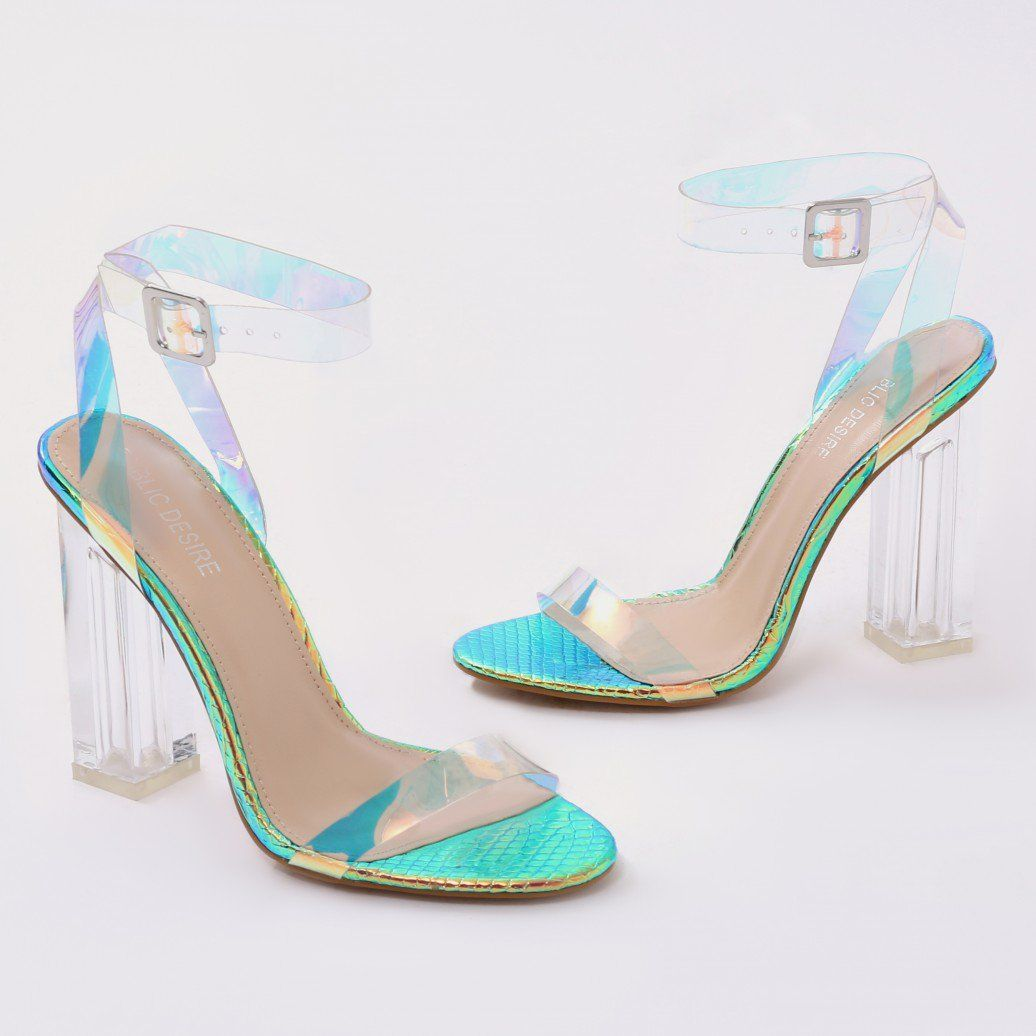 5f758e9a661 Alia Strappy Clear Perspex High Heels in Iridescent in 2019   My ...