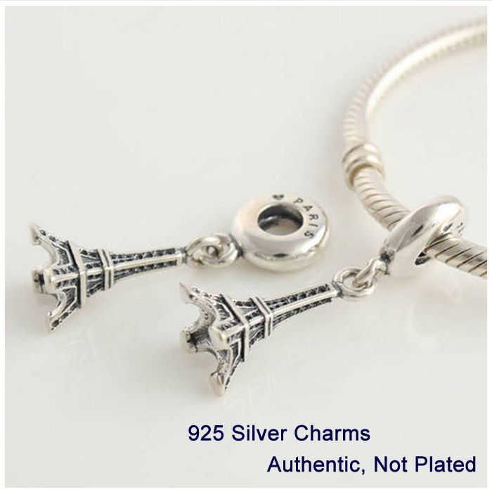 3521fff2a L086 Free Shipping 100% Genuine 925 Sterling Silver Beads Thread Eiffel  Tower Charms DIY Jewelry fits Pandora Bracelet Wholesale