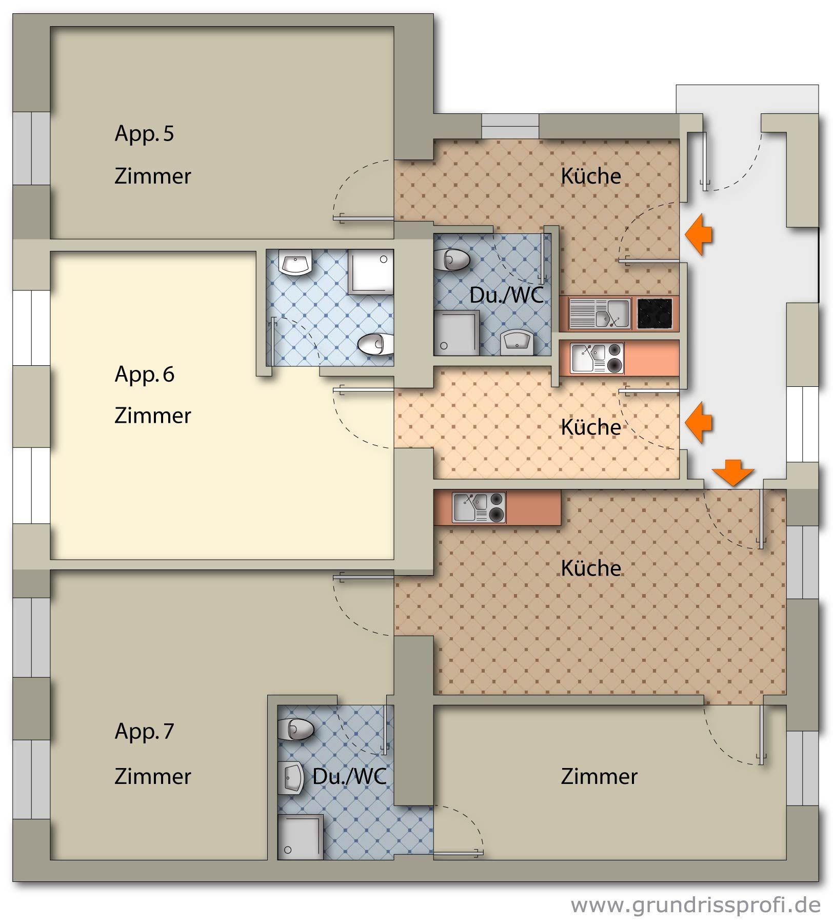 Stockwerksplan // Floor plan App, Zimmer, Schlafzimmer