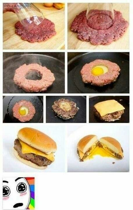 Fried Egg Stuffed Burger... YUM!